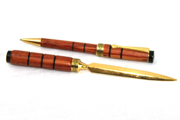 Wood turned Letter Opener & Pen Set